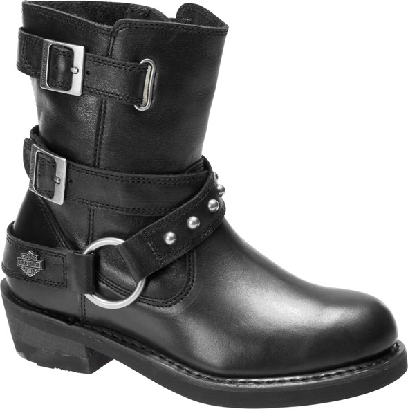 Harley-Davidson Women's Janice Black Leather Motorcycle Riding Boots D87180 - Wisconsin Harley-Davidson