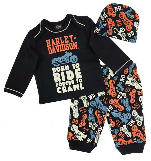 Harley-Davidson Baby Boys' Motorcycle Newborn 3-piece Set w/ Gift Bag 2553901 - Wisconsin Harley-Davidson