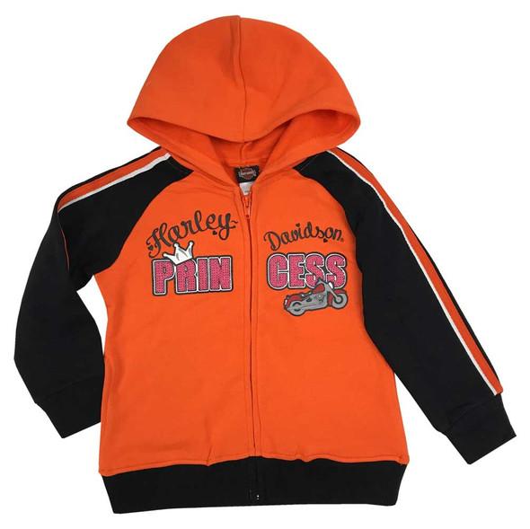 Harley-Davidson Little Girls' Glitter Princess Fleece Zip Hoodie, Orange 6533971 - Wisconsin Harley-Davidson