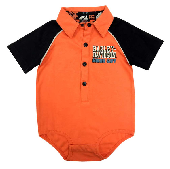 Harley-Davidson Baby Boys' Biker Guy Short Sleeve Knit Creeper - Orange 3053907 - Wisconsin Harley-Davidson