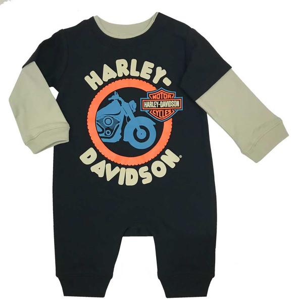Harley-Davidson Baby Boys' Colorblocked Interlock Long Sleeve Coverall 3053953 - Wisconsin Harley-Davidson