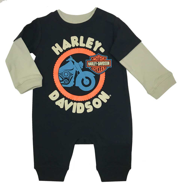 Harley-Davidson Baby Boys' Colorblocked Interlock Long Sleeve Coverall 3053953 - Wisconsin Harley-Davidson