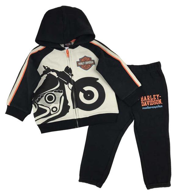 Harley-Davidson Baby Boys' 2-Piece Bike Fleece Jogger Set, Khaki & Black 2063911 - Wisconsin Harley-Davidson