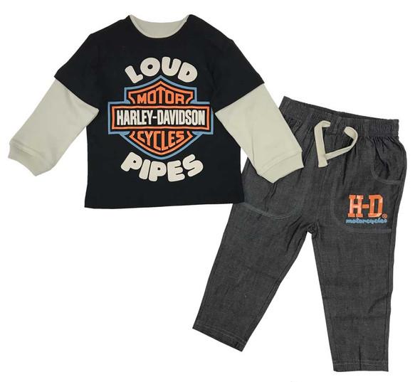 Harley-Davidson Little Boys' Toddler Denim Pant Set w/ Long Sleeve Shirt 2073903 - Wisconsin Harley-Davidson
