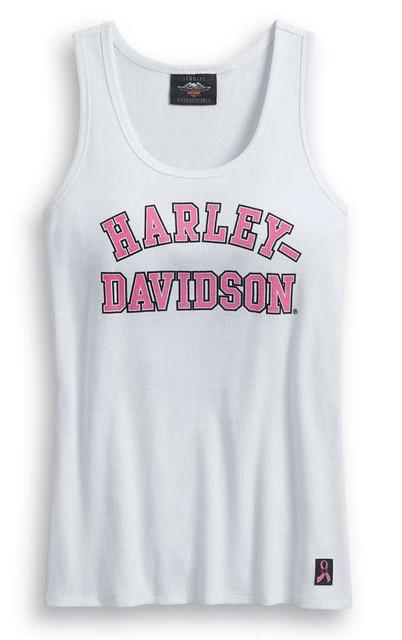 Harley-Davidson Womens Pink Label Rib-Knit Sleeveless Tank Top, White 99057-20VW - Wisconsin Harley-Davidson