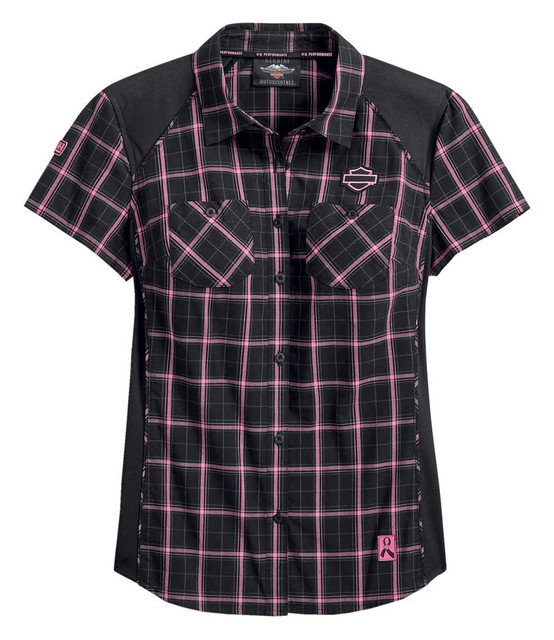 Harley-Davidson Women's Pink Label Performance Plaid Shirt - Black 99040-20VW - Wisconsin Harley-Davidson