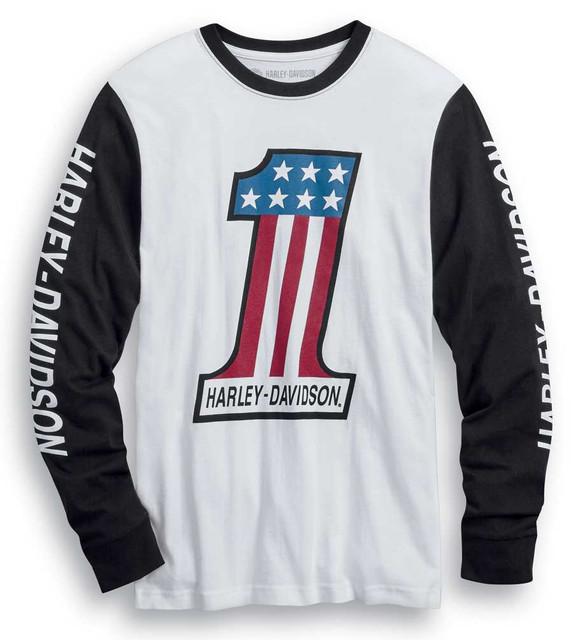 Harley-Davidson Men's #1 Colorblocked Long Sleeve Slim Fit T-Shirt 99022-20VM - Wisconsin Harley-Davidson