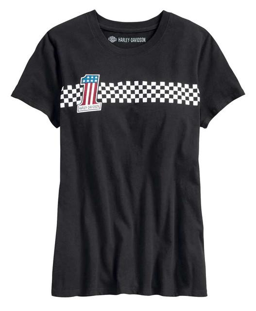 Harley-Davidson Women's #1 Checkered Stripe Short Sleeve T-Shirt 99042-20VW - Wisconsin Harley-Davidson