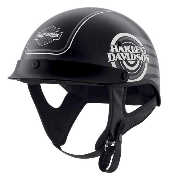 Harley-Davidson Men's Ultra M04 Wicking Half Helmet, Black/Silver 98111-20VX - Wisconsin Harley-Davidson