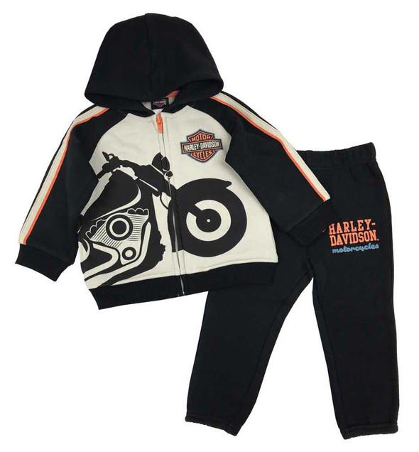 Harley-Davidson Little Boys' 2-Piece Bike Fleece Jogger Set, Khaki/Black 2073911 - Wisconsin Harley-Davidson