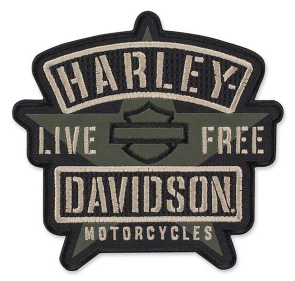 Harley-Davidson Embroidered H-D Military Star Emblem Patch, Olive/Black EM343942 - Wisconsin Harley-Davidson