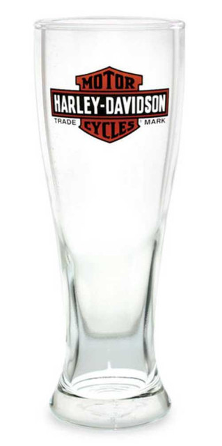 Harley-Davidson Long Bar & Shield Logo Pilsner Glass, Clear - 16 oz. PS31271 - Wisconsin Harley-Davidson