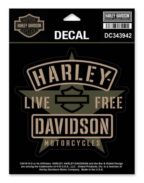 Harley-Davidson Military Star Matte Decal, SM Size - 4.75 x 5 inches DC343942 - Wisconsin Harley-Davidson