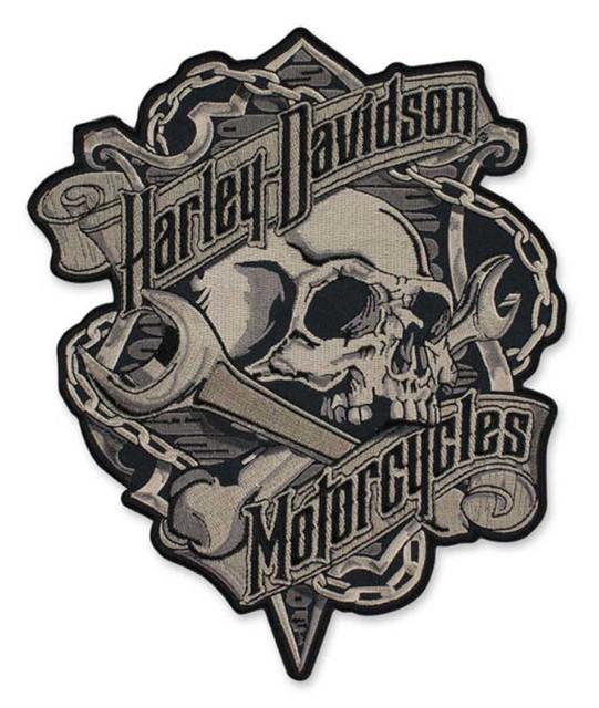 Harley-Davidson Embroidered Grim Skull & Wrench Emblem Patch, Black EM341804 - Wisconsin Harley-Davidson