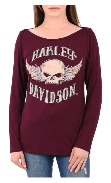 Harley-Davidson Women's Rocking Willie Embellished Long Sleeve Scoop Neck Top - Wisconsin Harley-Davidson