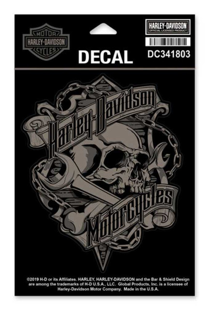 Harley-Davidson Grim Skull & Wrench Decal, MD Size - 4.5 x 5.5 inches DC341803 - Wisconsin Harley-Davidson