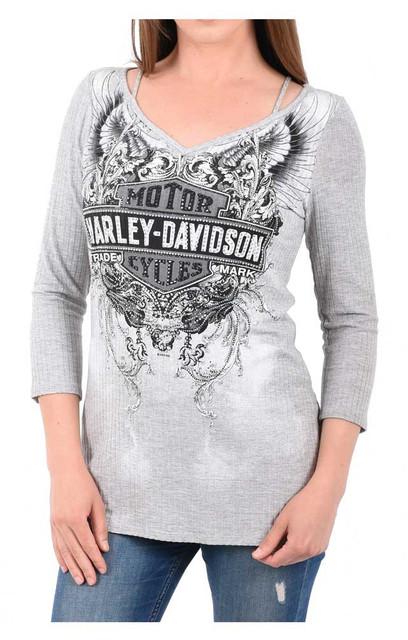 Harley-Davidson Women's Embellished B&S Cold Shoulder 3/4 Sleeve Knit Top - Gray - Wisconsin Harley-Davidson
