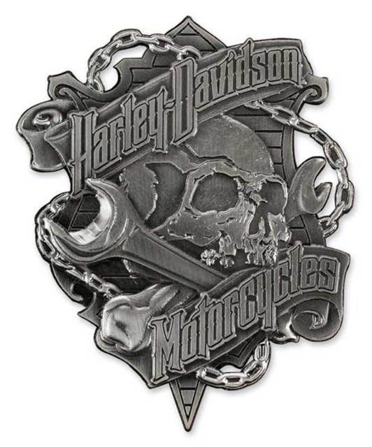 Harley-Davidson 3D Die Struck Grim Skull Magnet - Antique Nickel Silver DM34123 - Wisconsin Harley-Davidson