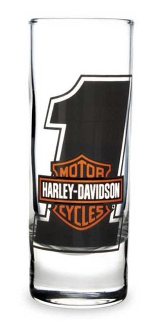 Harley-Davidson #1 Bar & Shield Logo Tall Clear Shot Glass - 2.5 oz. SG03571 - Wisconsin Harley-Davidson
