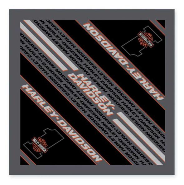 Harley-Davidson Men's #1 Bar & Shield Bandana - Black & Gray, 24 x 24 in BA03580 - Wisconsin Harley-Davidson