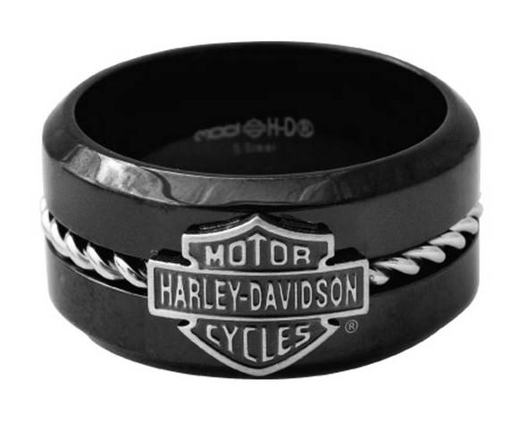 Harley-Davidson Men's Silver Wire B&S Band Ring, Black Stainless Steel HSR0070 - Wisconsin Harley-Davidson