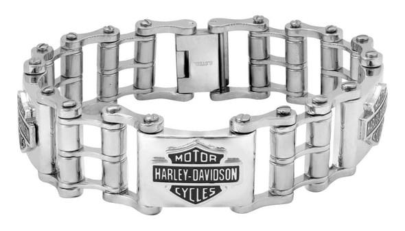 Harley-Davidson Men's Bike Chain Bar & Shield Bracelet, Stainless Steel HSB0207 - Wisconsin Harley-Davidson