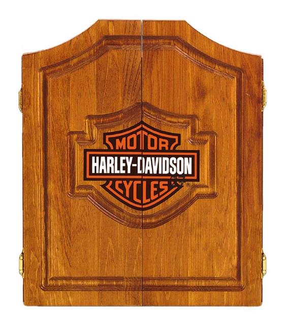 Harley-Davidson Bar & Shield Logo Dart Board Cabinet - Pine Wooden Cabinet 61905 - Wisconsin Harley-Davidson