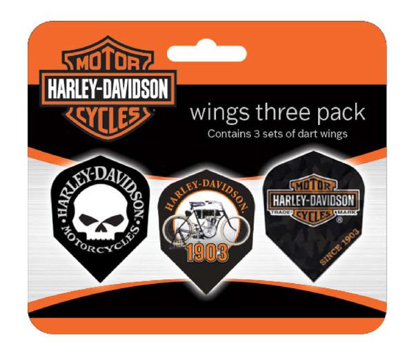 Harley-Davidson Wings Assorted Dart Standard Flights - Pack of 9, Black 643D - Wisconsin Harley-Davidson