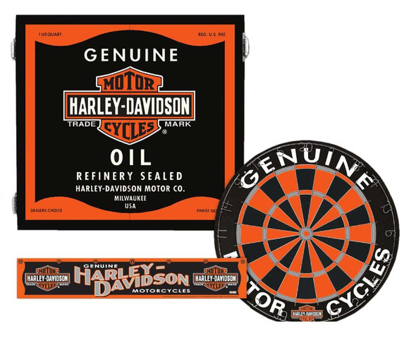 Harley-Davidson Genuine Oil Can Dart Board Kit - Black Wooden Cabinet 61992 - Wisconsin Harley-Davidson