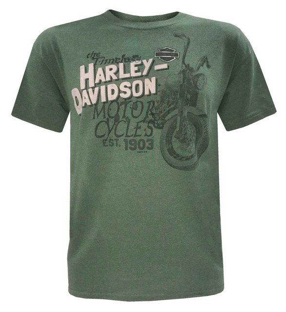 Harley-Davidson Men's Forward Stack Distress Short Sleeve Crew T-Shirt, Green - Wisconsin Harley-Davidson