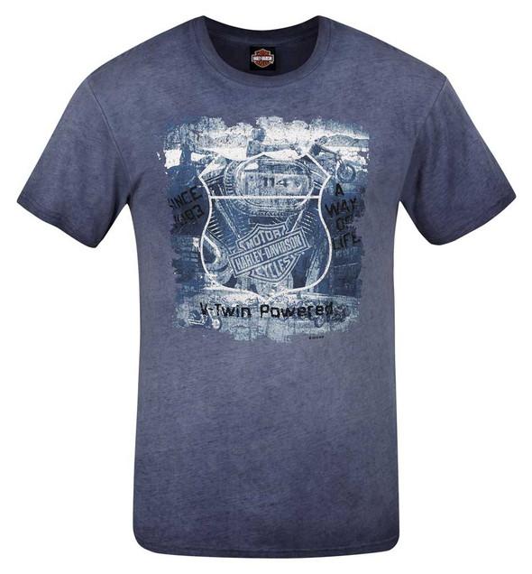 Harley-Davidson Men's Road Grunge Reverse Dye Crew-Neck Short Sleeve T-Shirt - Wisconsin Harley-Davidson