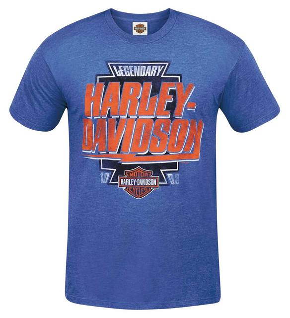 Harley-Davidson Men's Name Flash Retro Crew-Neck Short Sleeve T-Shirt, Blue - Wisconsin Harley-Davidson