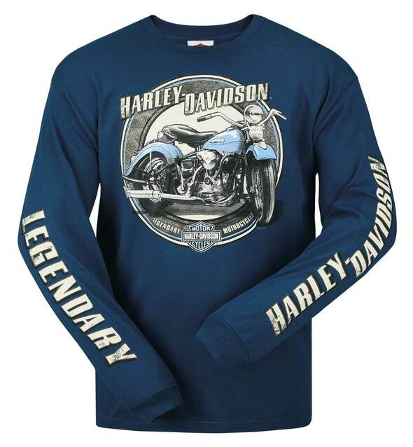 Harley-Davidson Men's Painted Motorcycle Crew-Neck Long Sleeve T-Shirt, Blue - Wisconsin Harley-Davidson