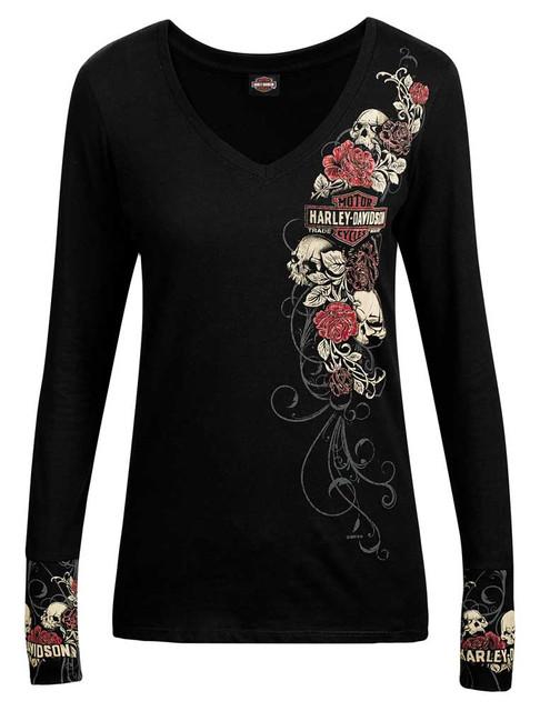Harley-Davidson Women's Skulls & Roses Long Sleeve V-Neck Shirt, Black R002146 - Wisconsin Harley-Davidson