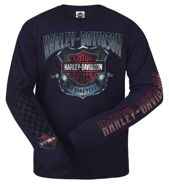 Harley-Davidson Men's Distressed Race Crest Long Sleeve Shirt, Dark Navy R002418 - Wisconsin Harley-Davidson