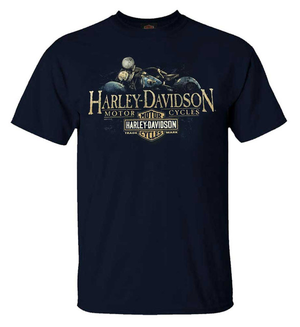 Harley-Davidson Men's Old Blue Vintage Crew-Neck Short Sleeve T-Shirt, Navy Blue - Wisconsin Harley-Davidson