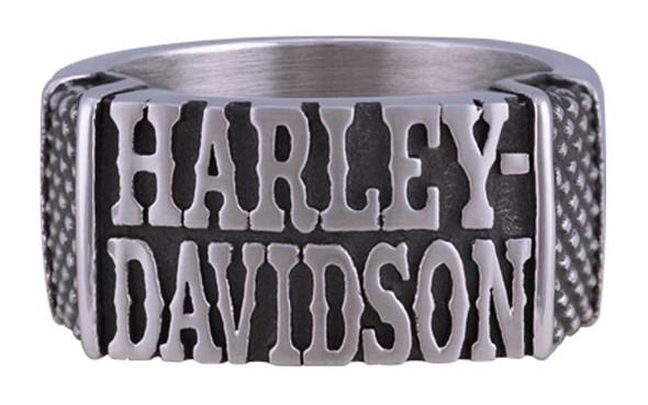 Harley-Davidson Men's Western H-D Band Ring - Antique Stainless Steel HSR0073 - Wisconsin Harley-Davidson