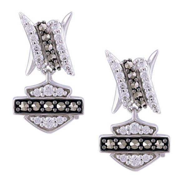 Harley-Davidson Women's Bling Barb Wire Post Earrings, Sterling Silver HDE0530 - Wisconsin Harley-Davidson