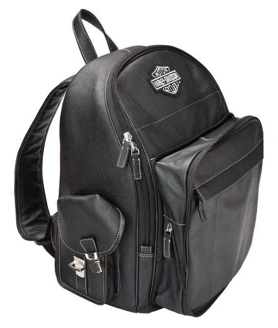 Harley-Davidson B&S Genuine Leather Backpack w/ Pockets - Black 99678-BLACK - Wisconsin Harley-Davidson