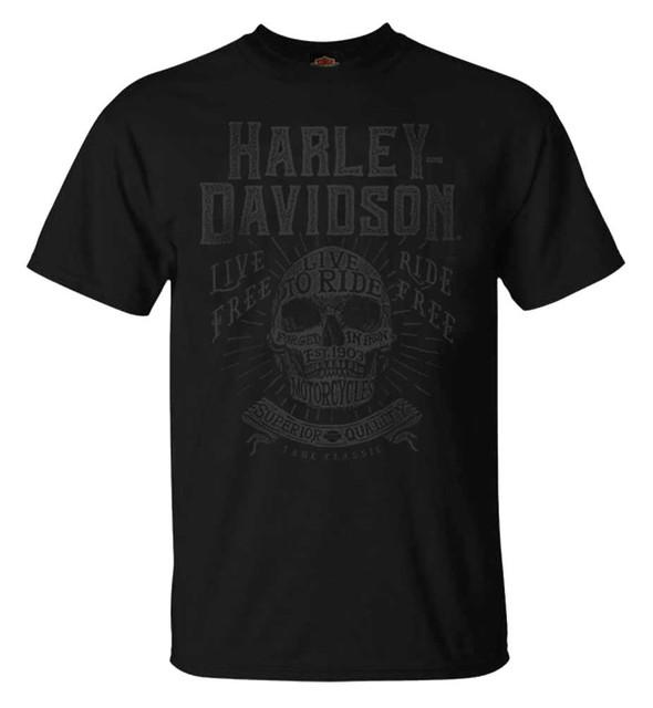 Harley-Davidson Men's Custom Crafted Tonal Short Sleeve Crew-Neck T-Shirt, Black - Wisconsin Harley-Davidson