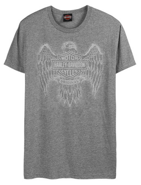 Harley-Davidson Men's Custom Eagle Tonal Short Sleeve Crew-Neck Tee, Washed Gray - Wisconsin Harley-Davidson