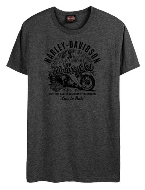 Harley-Davidson Men's Vintage Pinup Short Sleeve Crew-Neck T-Shirt, Washed Black - Wisconsin Harley-Davidson