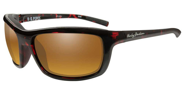 Harley-Davidson Men's Pipes Sunglasses, Gold Lenses/Red Tortoise Frames HAPIP15 - Wisconsin Harley-Davidson