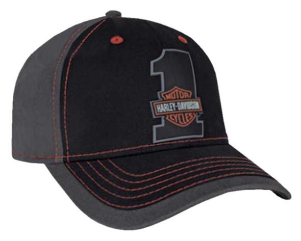 Harley-Davidson Men's #1 Bar & Shield Colorblocked Baseball Cap, Black BCC03530 - Wisconsin Harley-Davidson