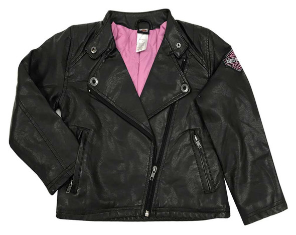 Harley-Davidson Little Girls' Winged Bar & Shield Pleather Biker Jacket 6030771 - Wisconsin Harley-Davidson