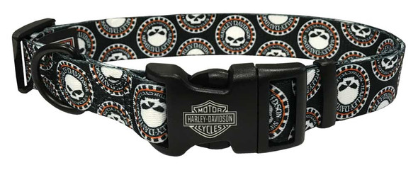 Harley-Davidson 1 in. Adjustable Willie G Skull Dog Collar - LG 26 in. Black - Wisconsin Harley-Davidson