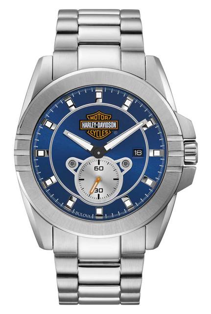 Harley-Davidson Mens Blue Dial Bar & Shield Stainless Steel Watch, Silver 76B183 - Wisconsin Harley-Davidson