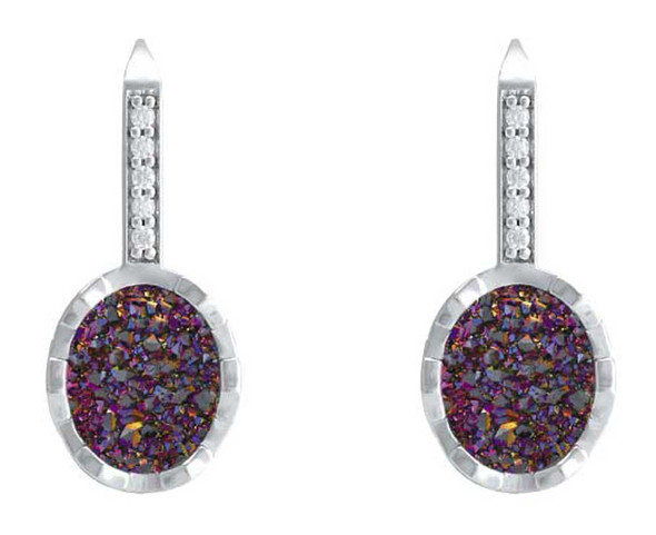 Harley-Davidson Women's Oval Drusy Bling Drop Earrings - Purple Center HDE0523 - Wisconsin Harley-Davidson
