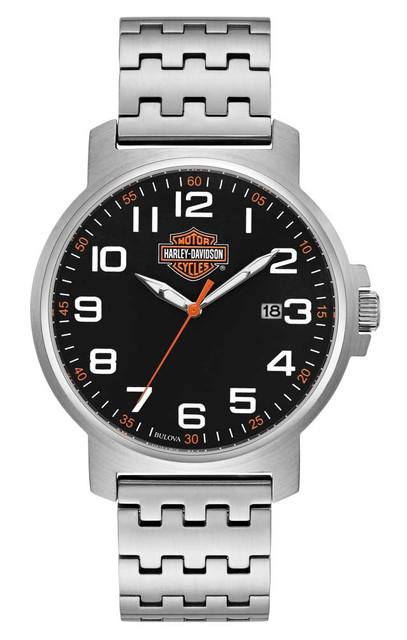 Harley-Davidson Men's Easy Read Black Dial Watch, Silver Stainless Steel 76B187 - Wisconsin Harley-Davidson