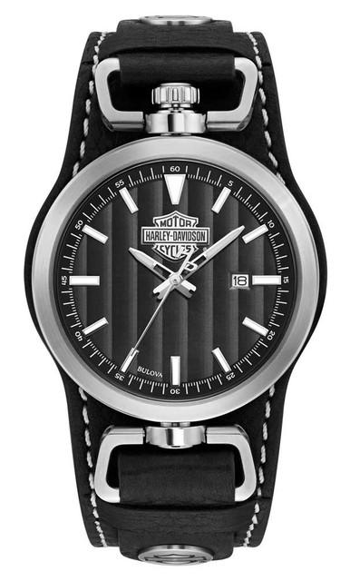 Harley-Davidson Men's B&S Rotating Case Cuff Watch, Black Leather Strap 76B185 - Wisconsin Harley-Davidson